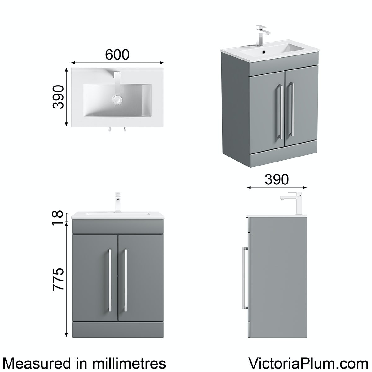 Dimensions for Orchard Derwent grey vanity door unit and basin 600mm