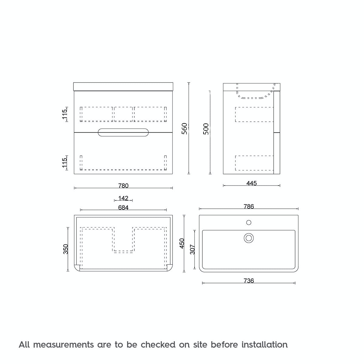 Dimensions for Mode Ellis slate wall hung vanity drawer unit and basin 800mm
