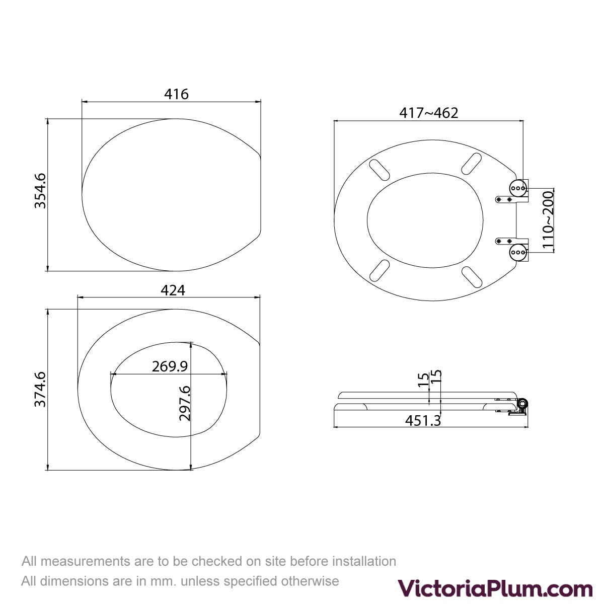 Dimensions for The Bath Co. traditional white engineered wood  tongue and groove toilet seat with top fixing soft close hinge