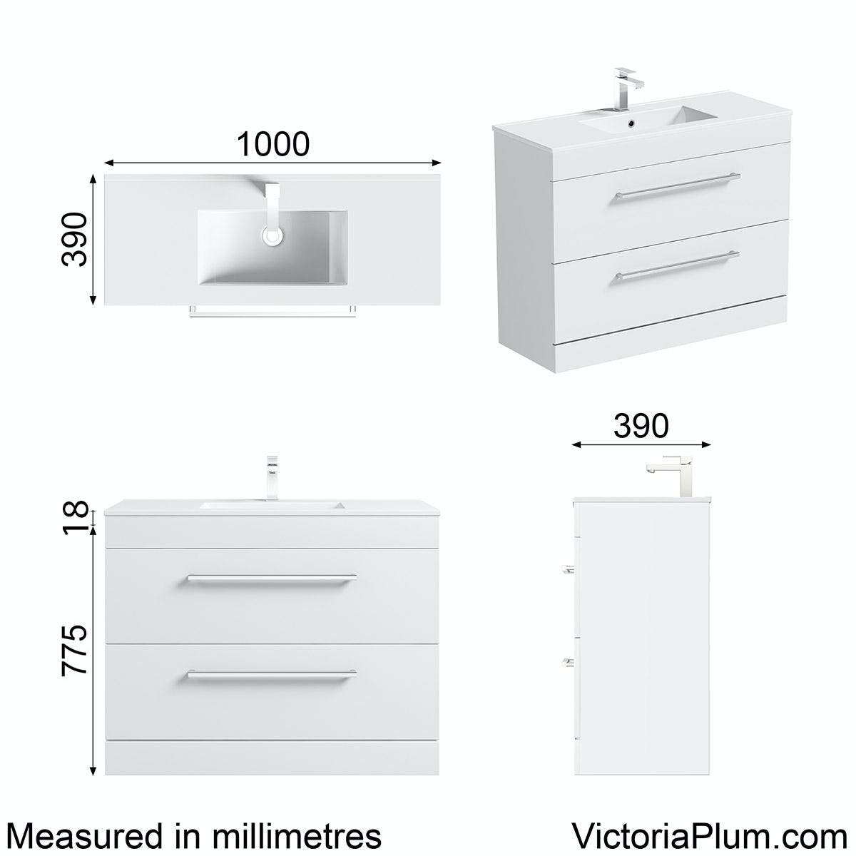 Dimensions for Orchard Derwent white vanity drawer unit and basin 1000mm