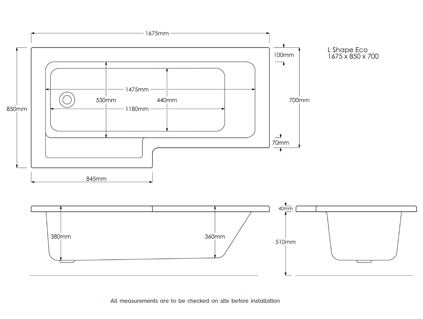Dimensions for Orchard MySpace water saving left handed L shaped shower bath with storage panel