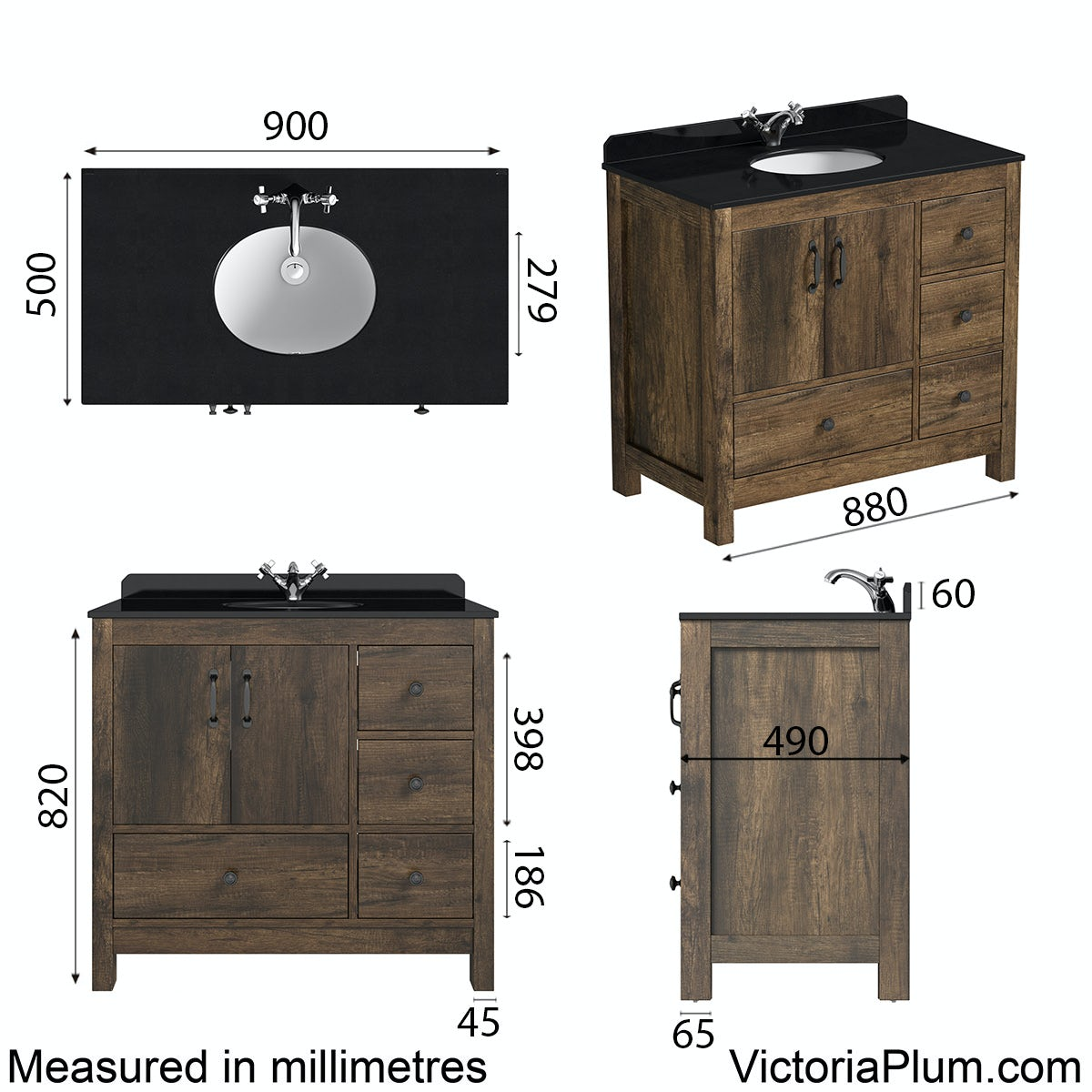 Dimensions for The Bath Co. Dalston vanity unit and black marble basin 900mm