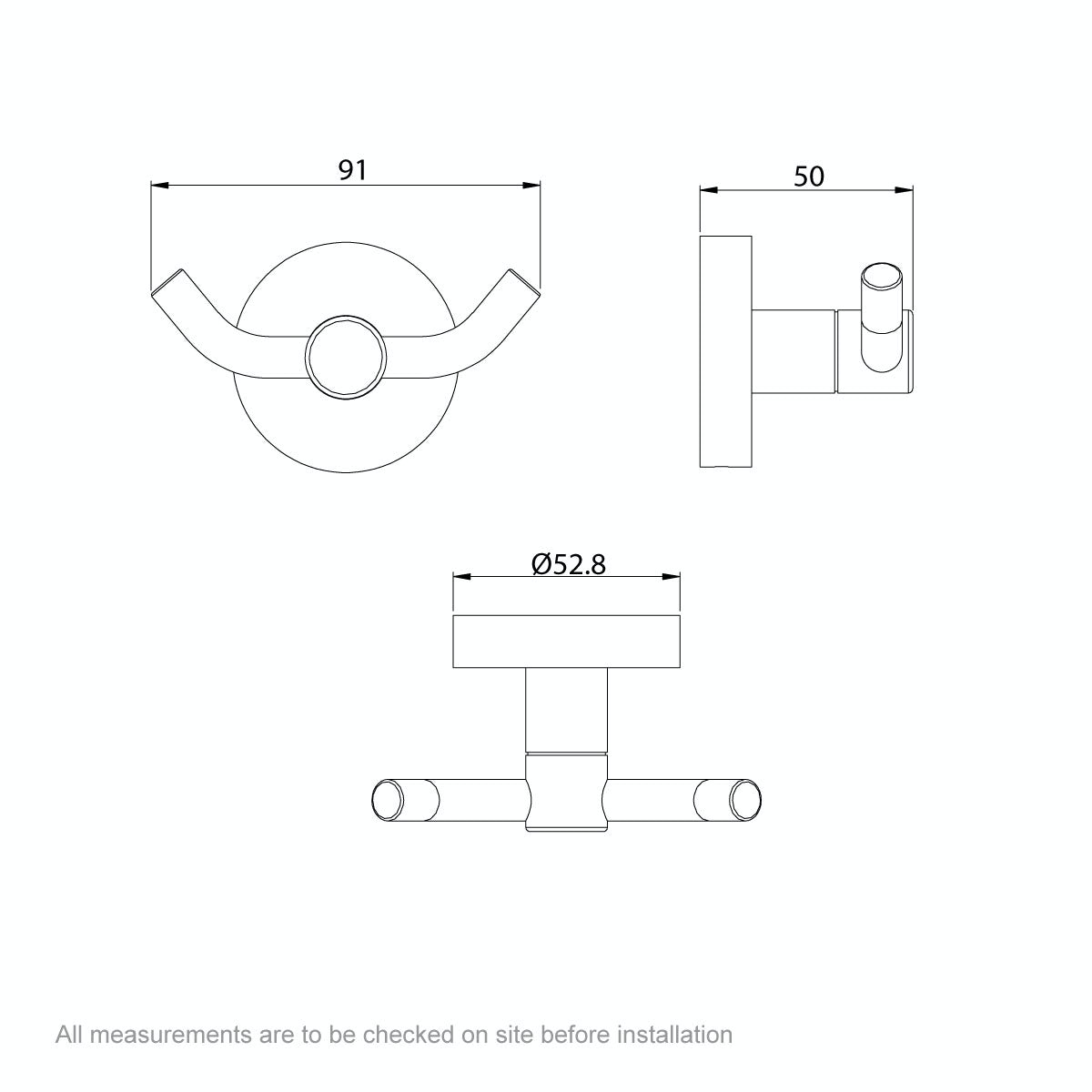 Dimensions for Orchard Lunar robe hook