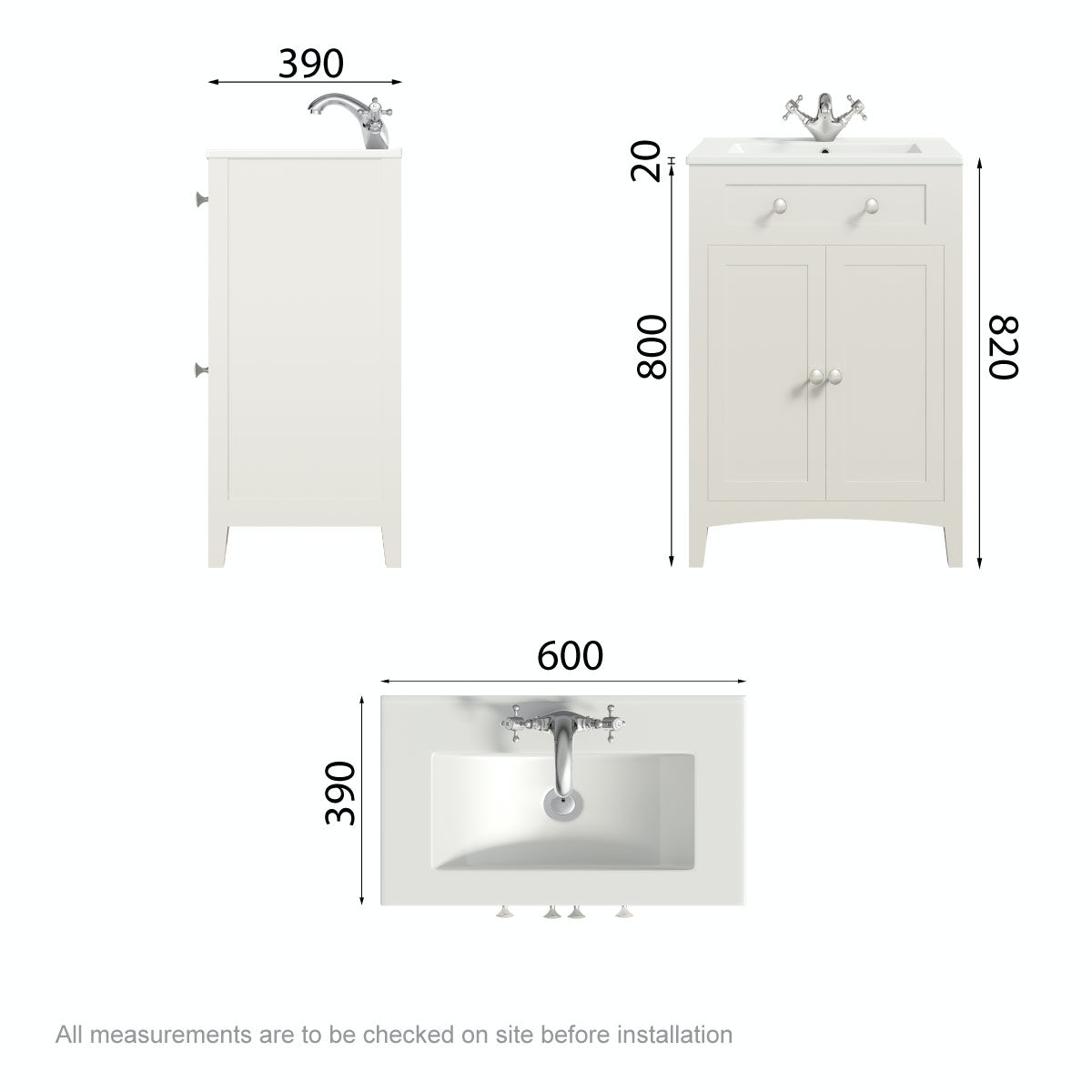 Dimensions for The Bath Co. Camberley ivory vanity unit with basin 600mm