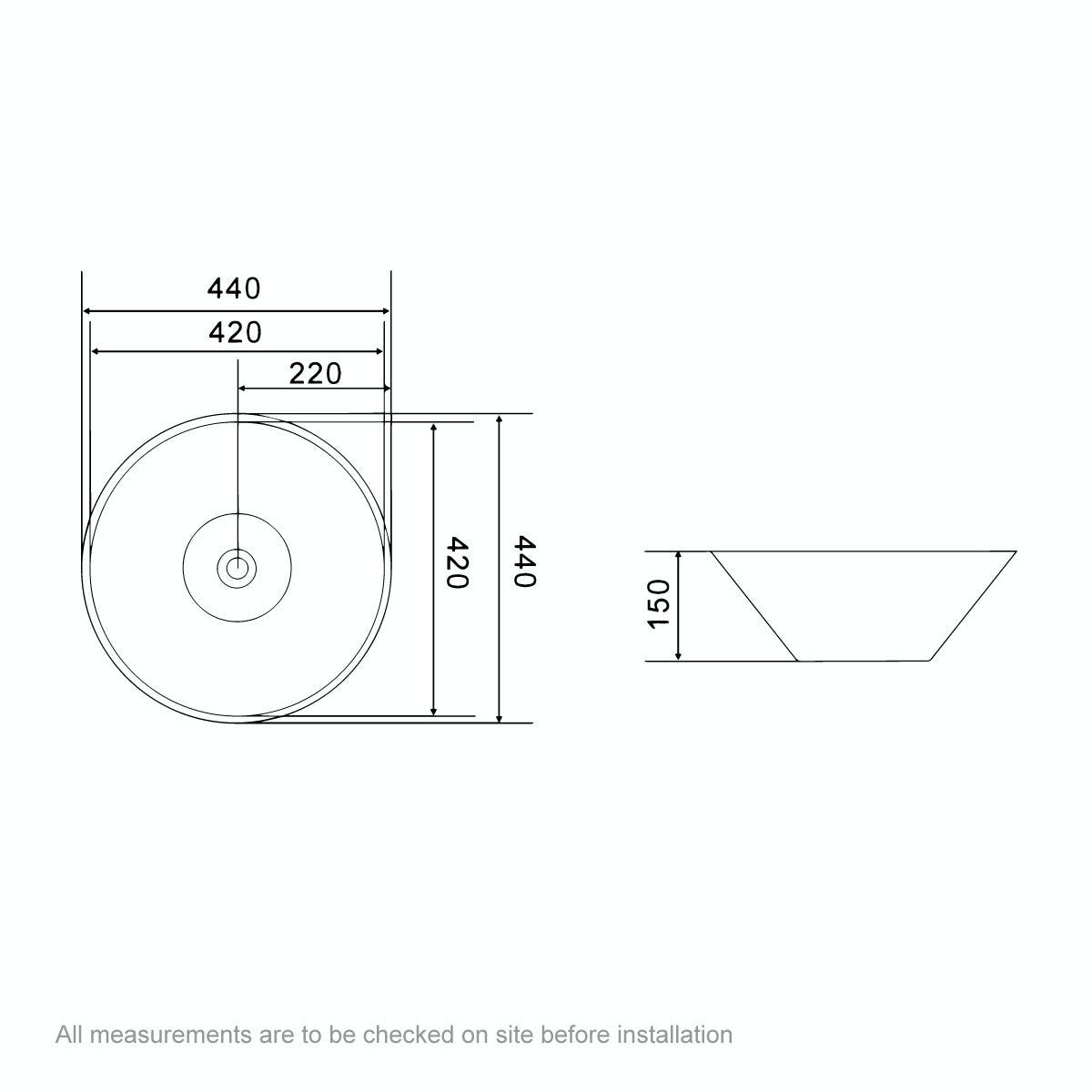 Dimensions for Orchard Erie countertop basin 420mm