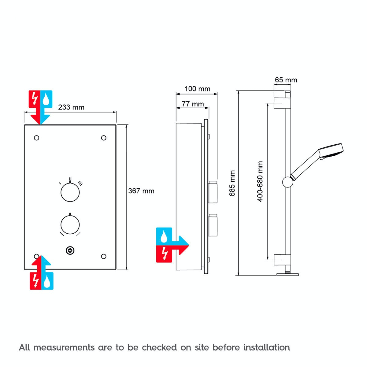 Dimensions for Mira Galena 9.8kw electric shower light stone