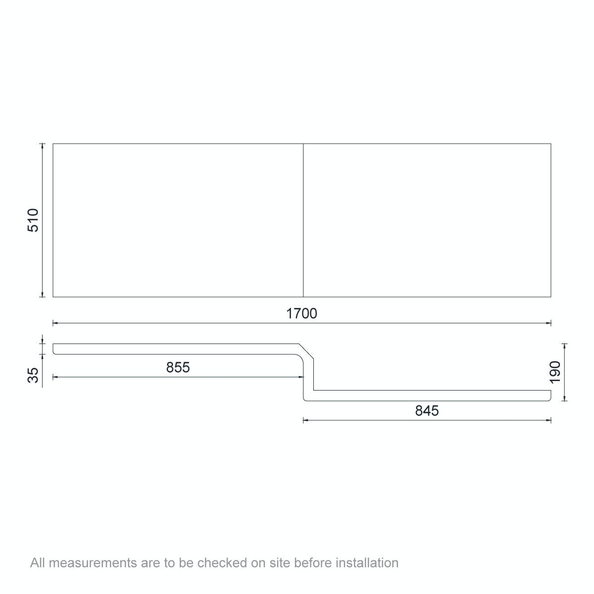 Dimensions for Orchard L shaped shower bath acrylic front panel 1700mm