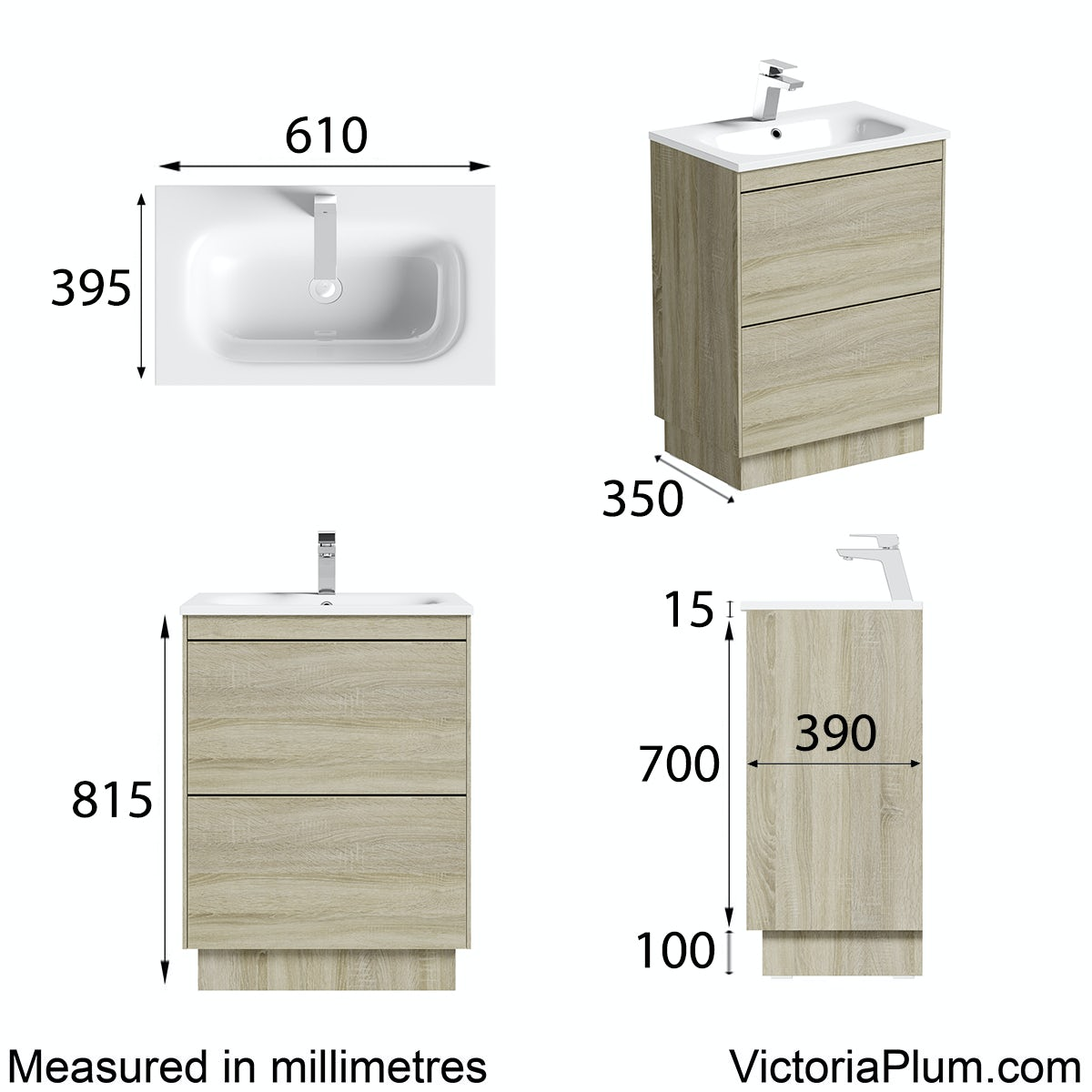 Dimensions for Mode Austin oak vanity unit and stone basin 600mm
