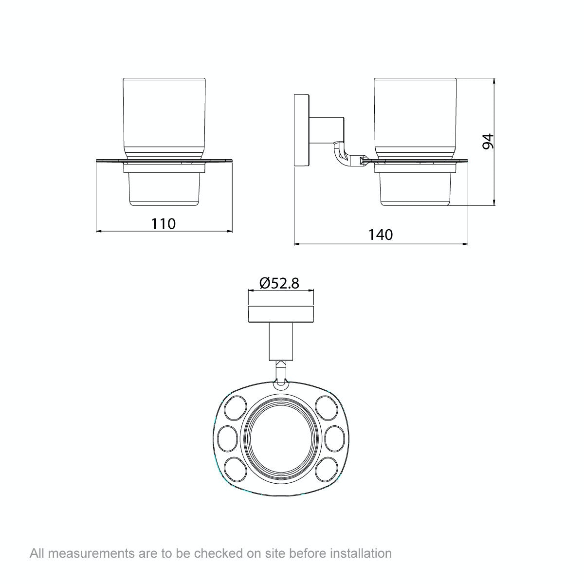 Dimensions for Orchard Lunar tumbler and toothbrush holder