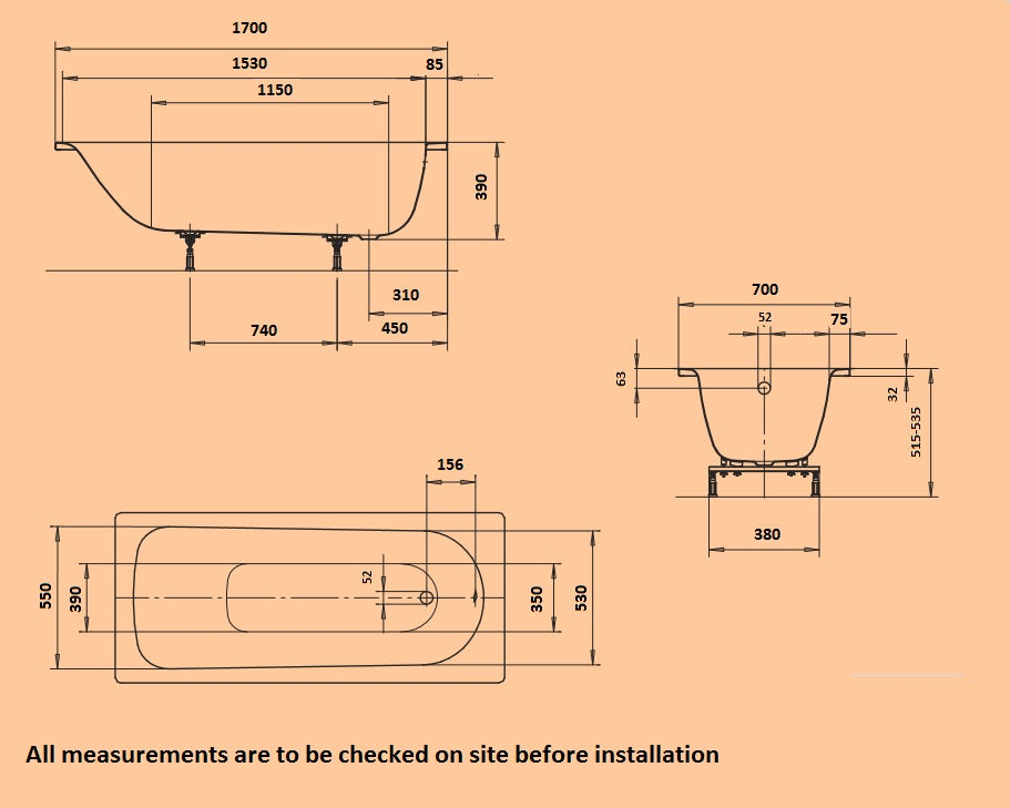 Dimensions for Kaldewei Eurowa straight steel bath with leg set 1700 x 700