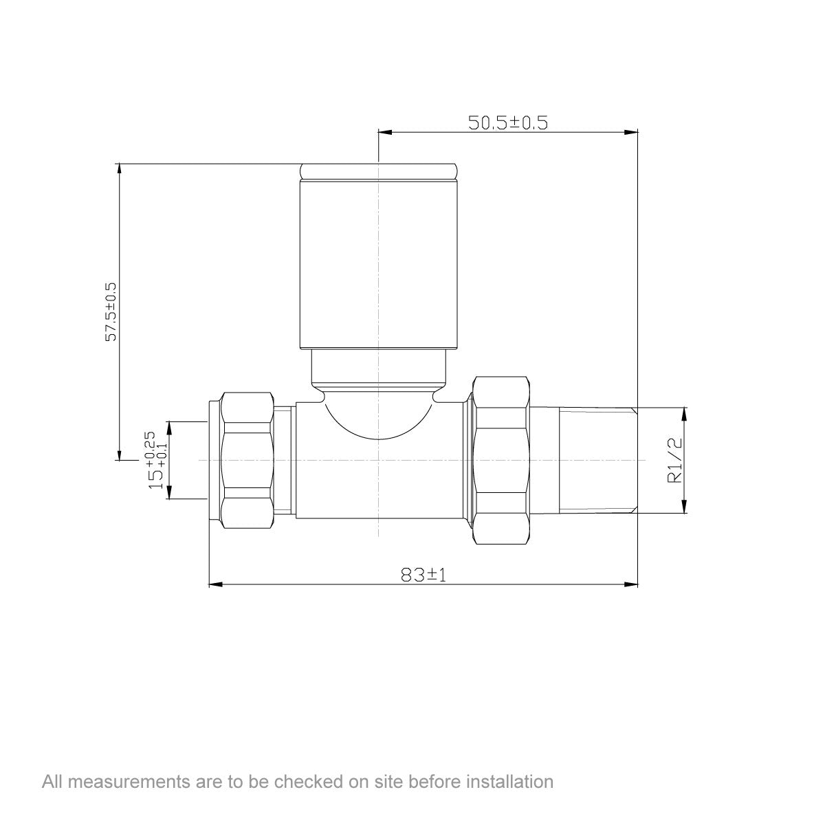 Dimensions for Orchard straight anthracite radiator valve