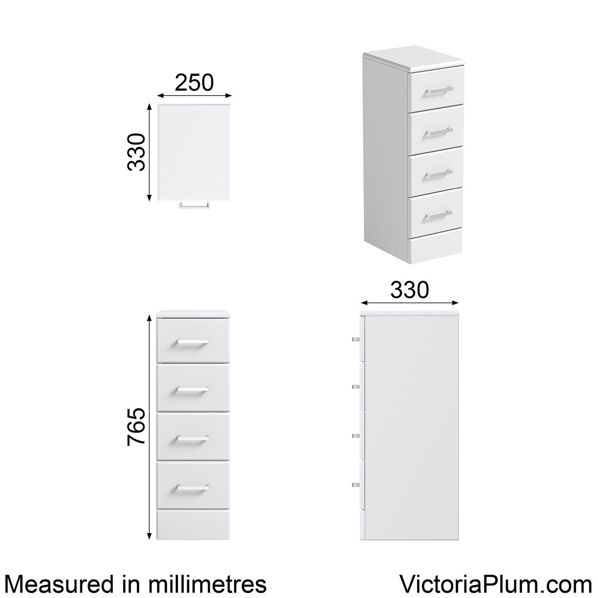 Dimensions for Orchard Eden white multi drawer unit 330mm
