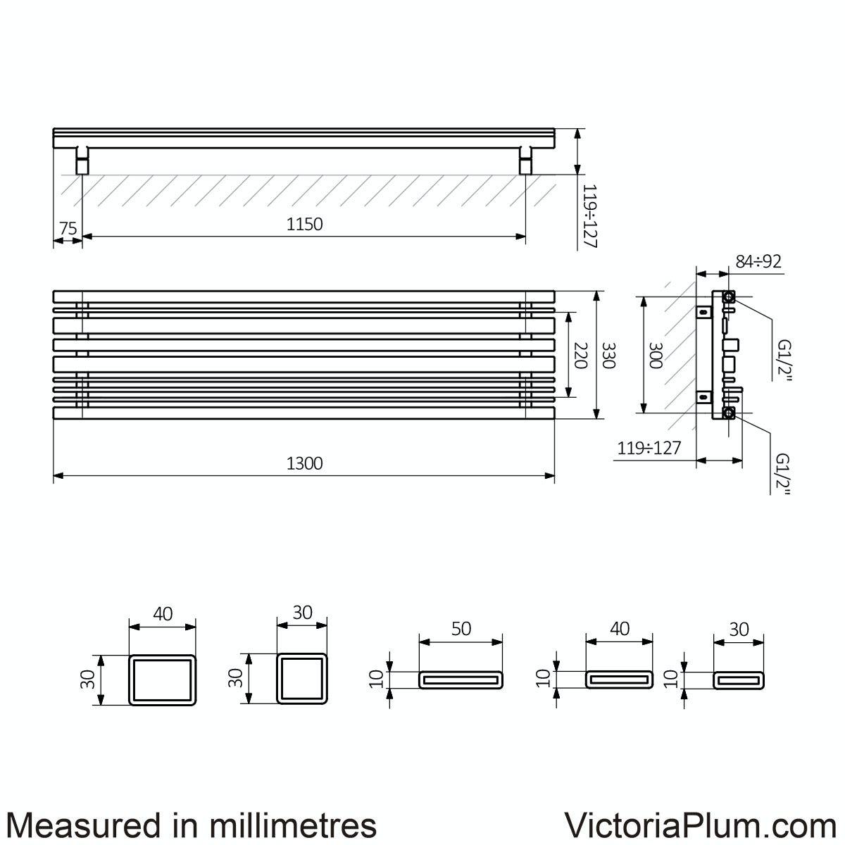 Dimensions for Terma Sherwood terra brown vertical radiator 1300 x 330