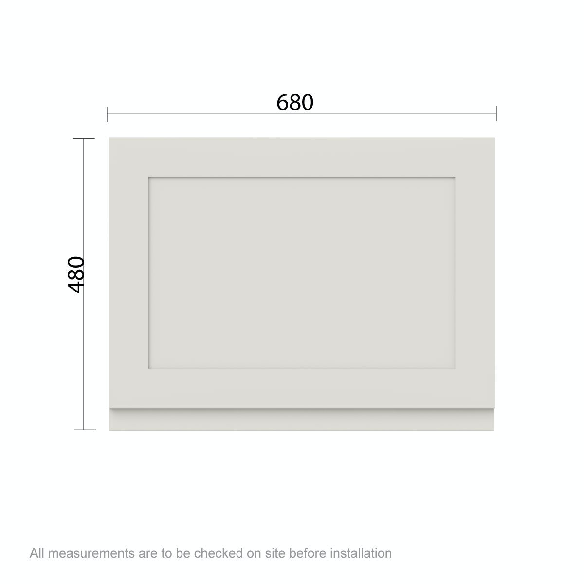 Dimensions for The Bath Co. Camberley satin ivory bath end panel 700mm