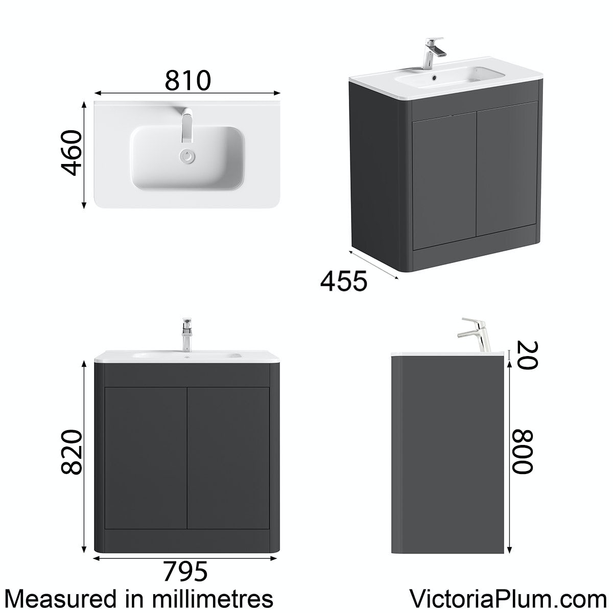 Dimensions for Mode Carter slate vanity unit and basin 800mm