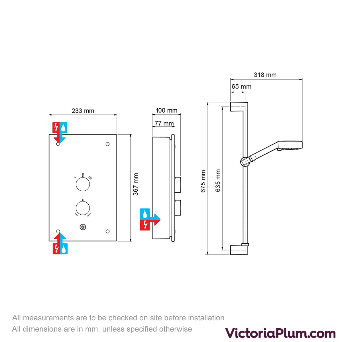Dimensions for Mira Galena 9.8kw electric shower black flock