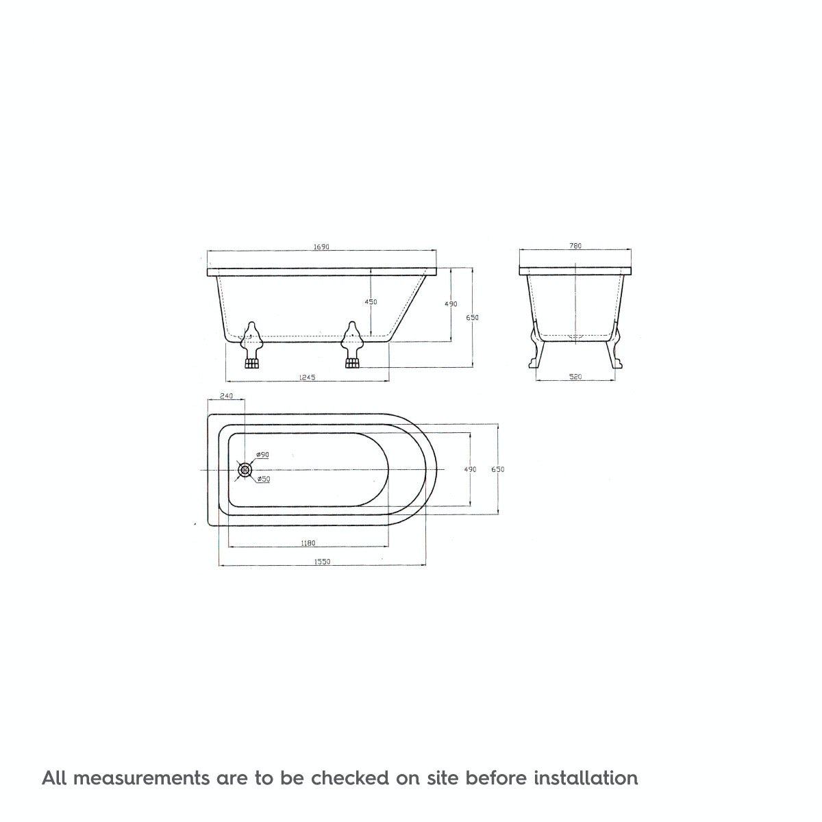 Dimensions for The Bath Co. Dulwich freestanding shower bath and bath screen