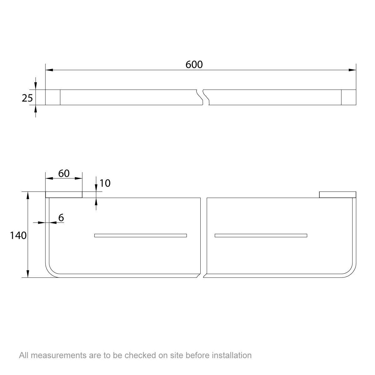 Dimensions for Mode Spencer gold bathroom shelf
