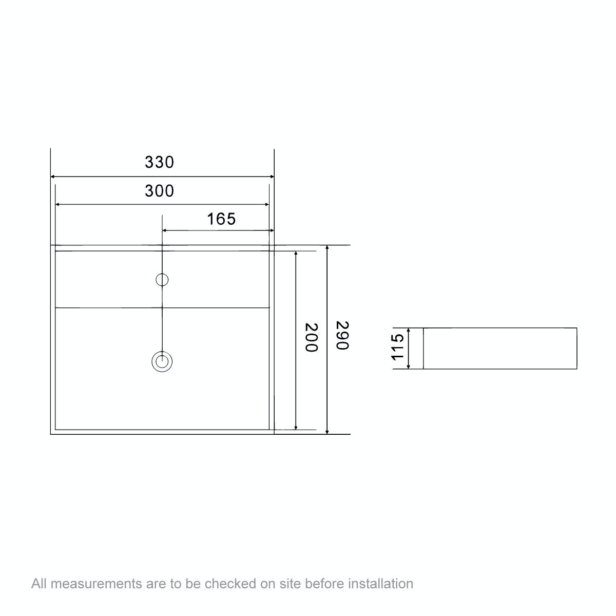 Dimensions for Orchard Derwent square 1 tap hole countertop basin 330mm