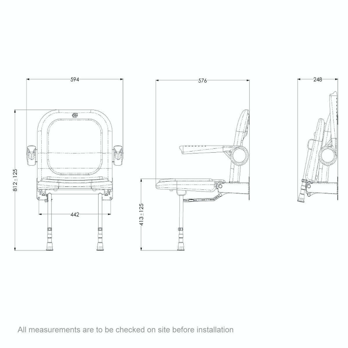Dimensions for AKW Advanced folding shower seat with moulded seat and full padding grey