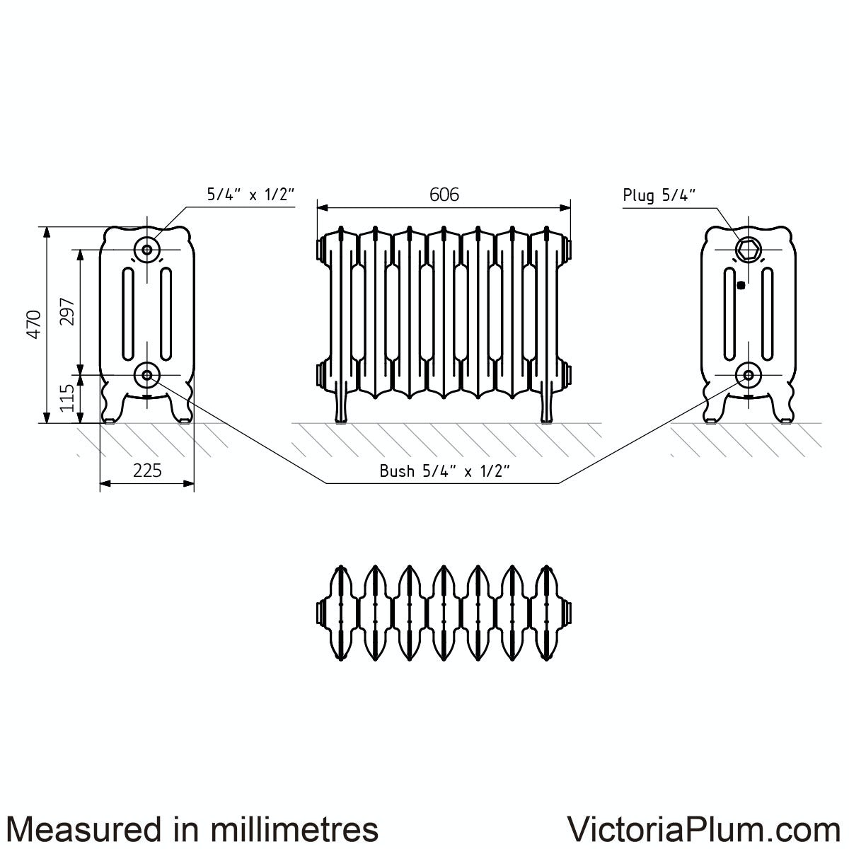Dimensions for Terma Oxford raw metal freestanding cast iron radiator 470 x 606