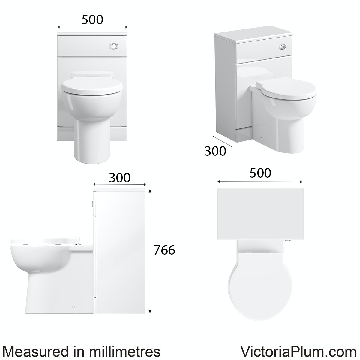 Dimensions for Orchard Eden white slimline back to wall toilet unit