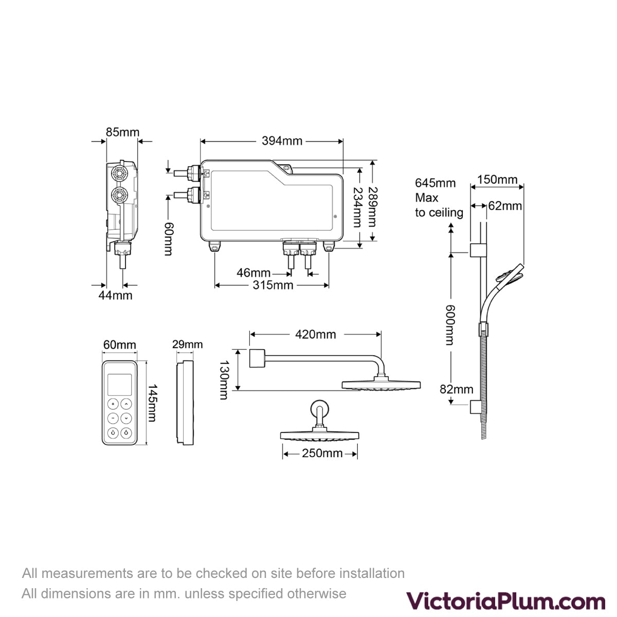 Dimensions for Mira Vision dual rear fed digital shower pumped