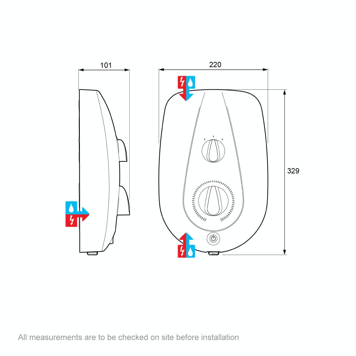 Dimensions for Mira Vie 9.5kw electric shower