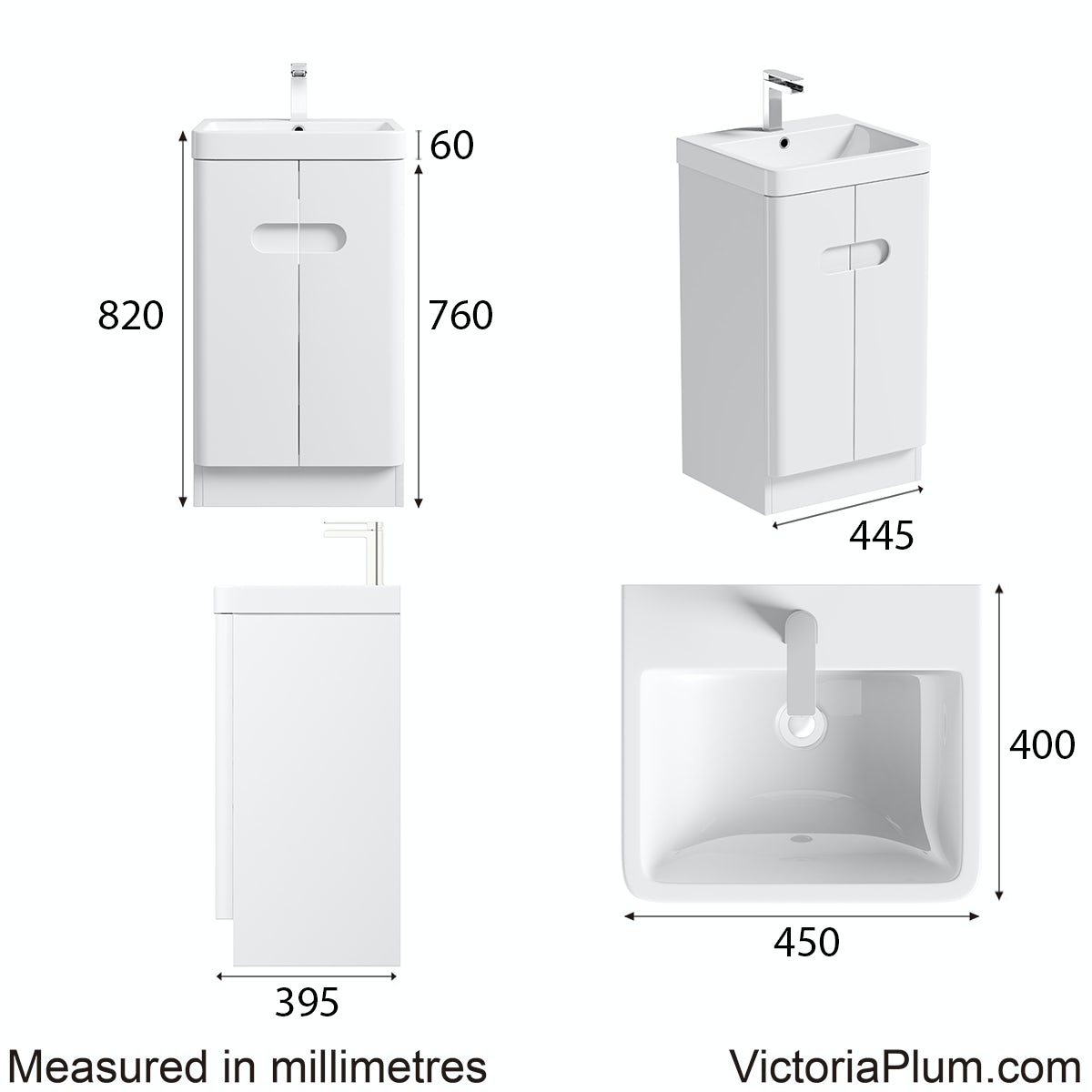 Dimensions for Mode Ellis white compact vanity unit and basin 450mm