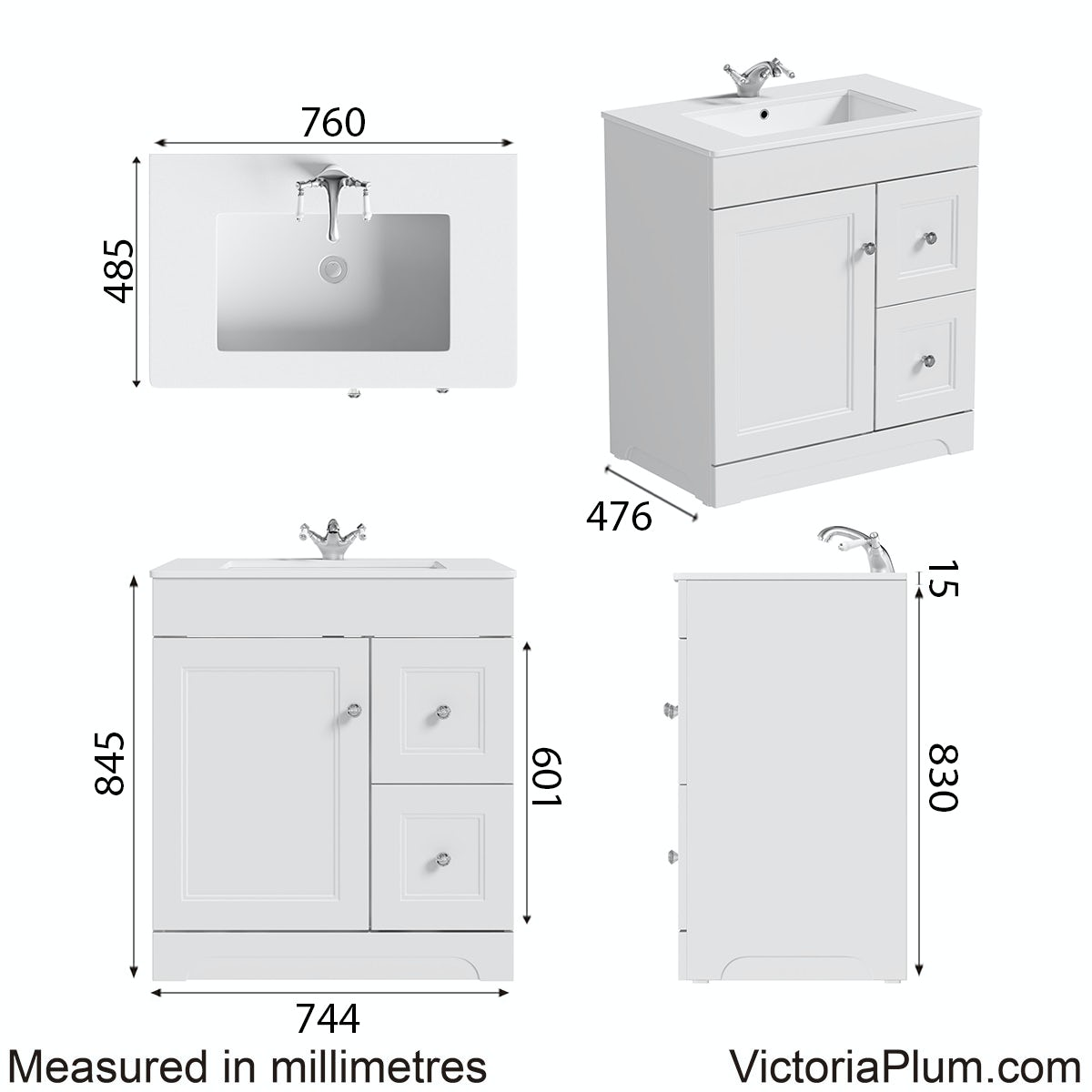 Dimensions for The Bath Co. Winchester white vanity unit and basin 800mm