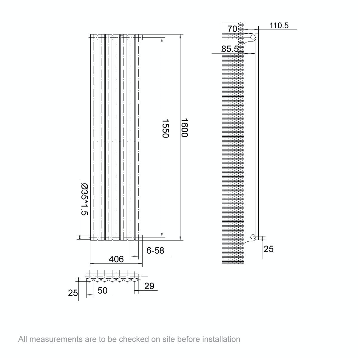Dimensions for Mode Tate white single vertical radiator 1600 x 406