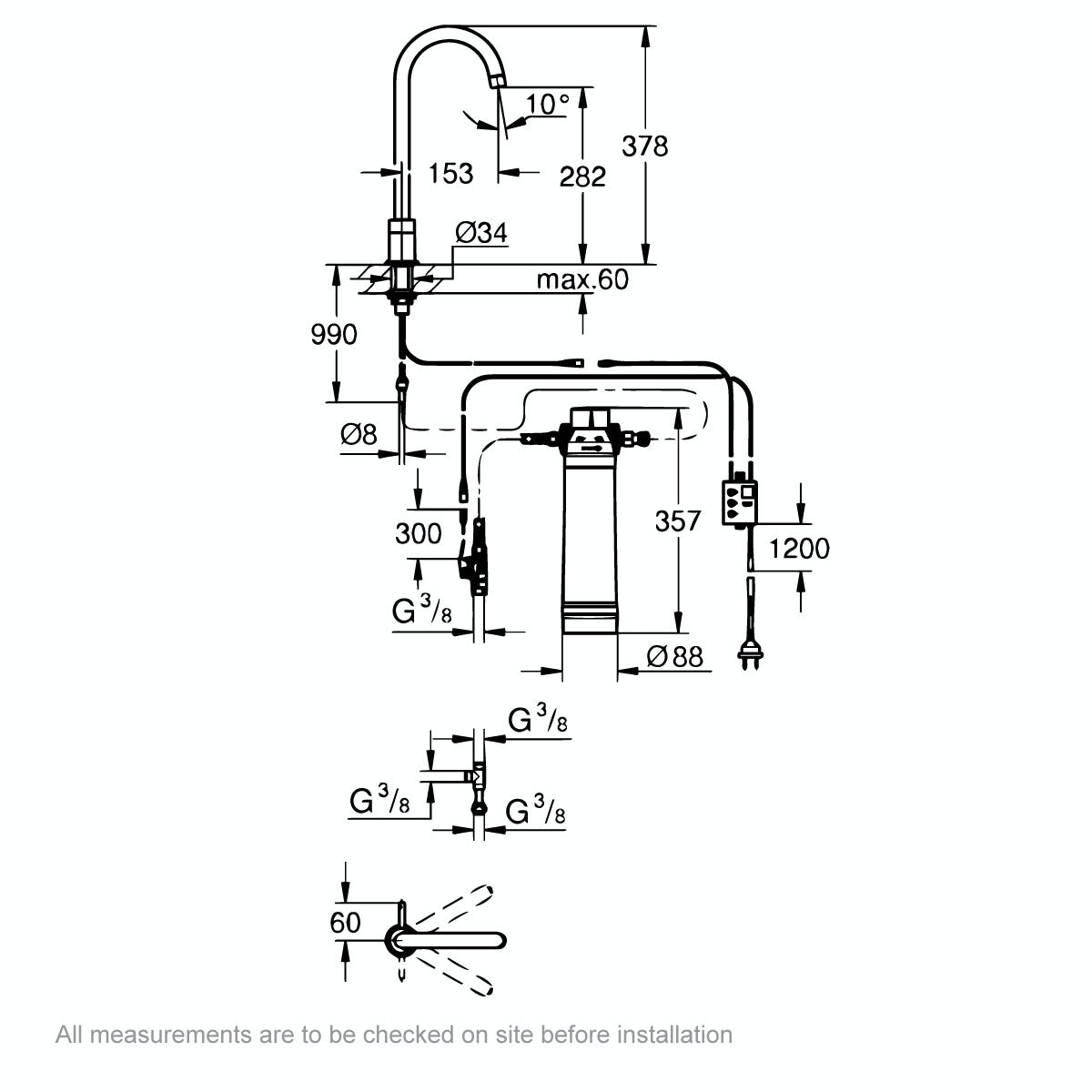 Dimensions for Grohe Blue Pure filter kitchen tap