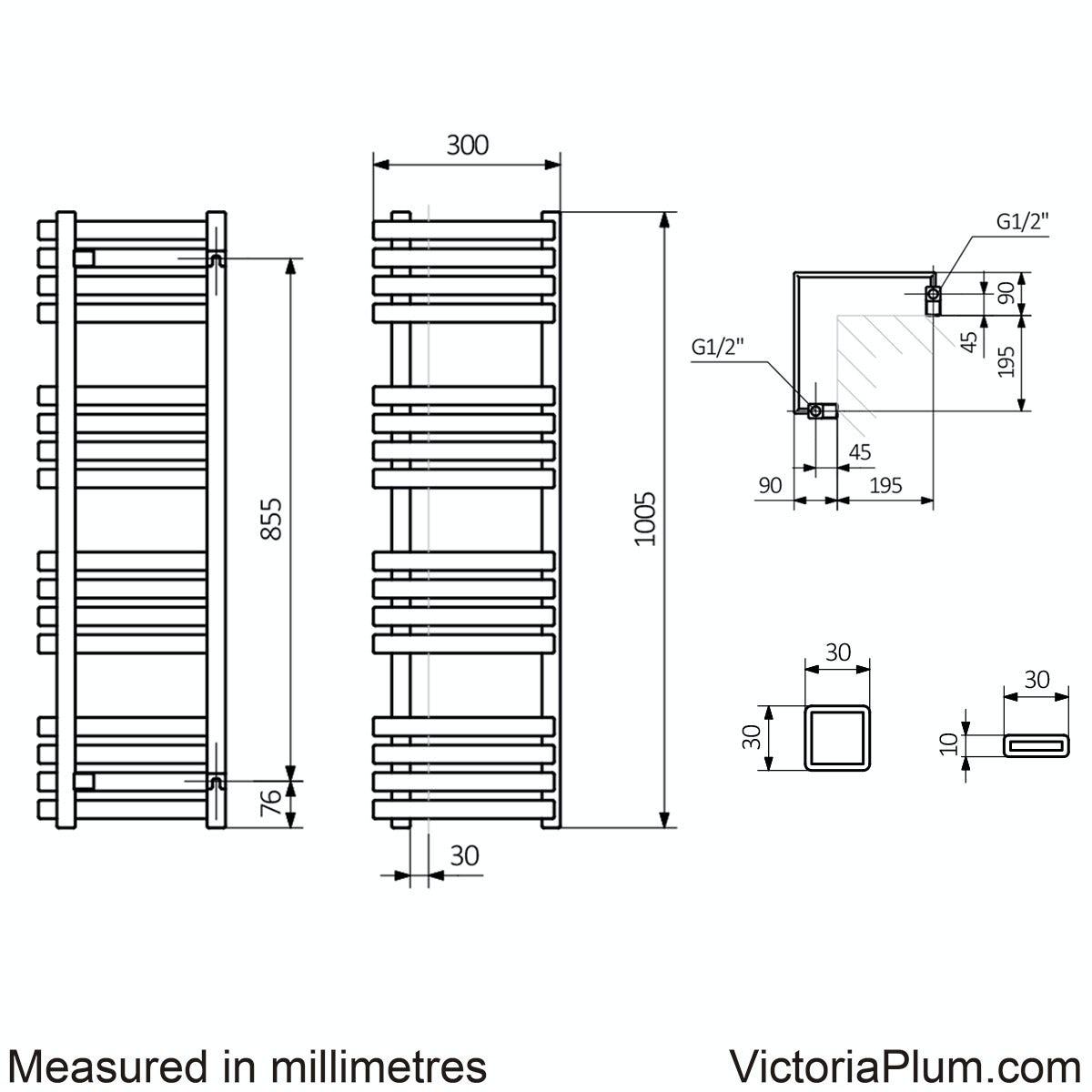 Dimensions for Outcorner modern grey heated towel rail 1005 x 300