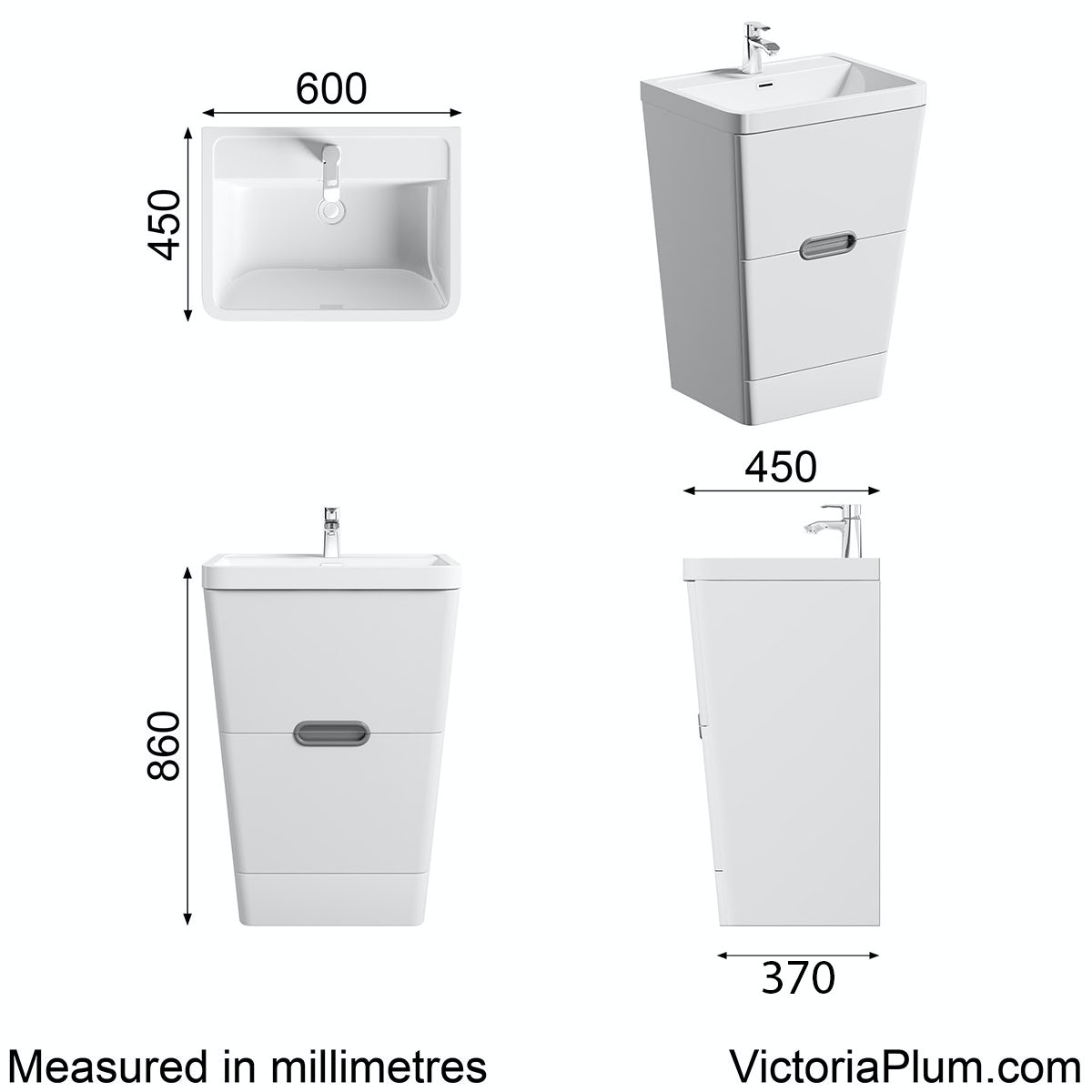 Dimensions for Mode Sherwood white floor standing vanity unit and resin basin 600mm