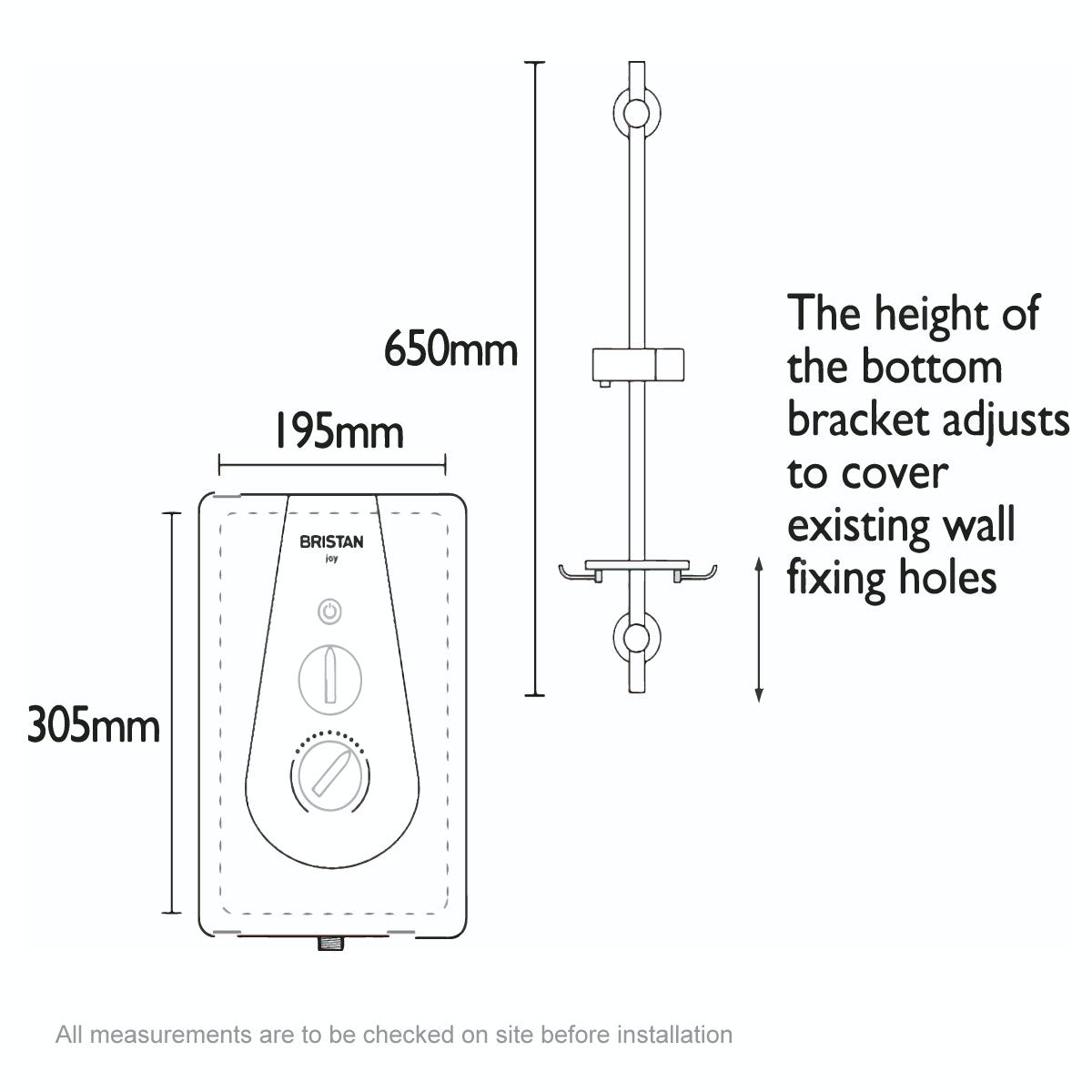 Dimensions for Bristan Joy 9.5kw thermostatic electric shower metallic silver