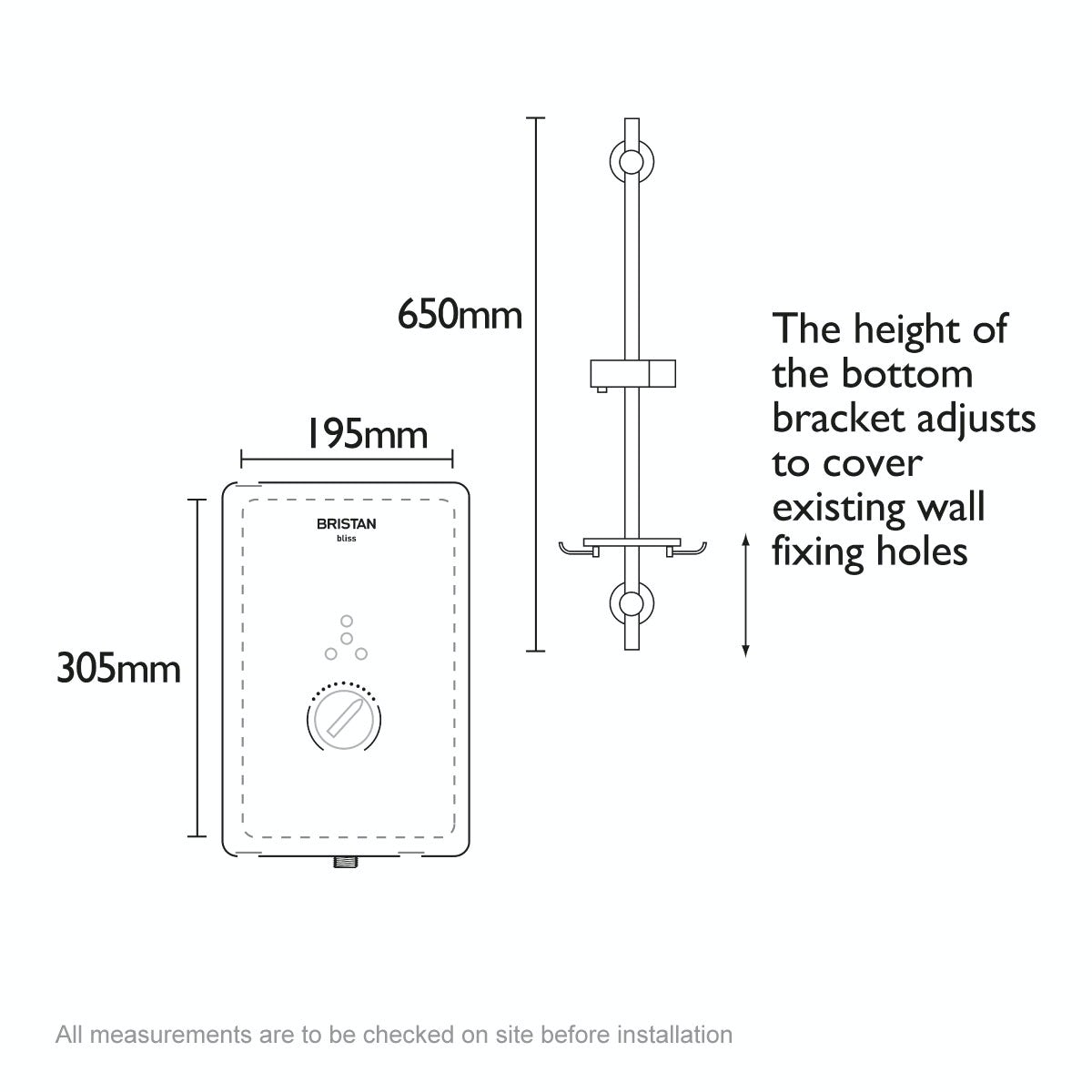 Dimensions for Bristan Bliss 10.5kw electric shower white