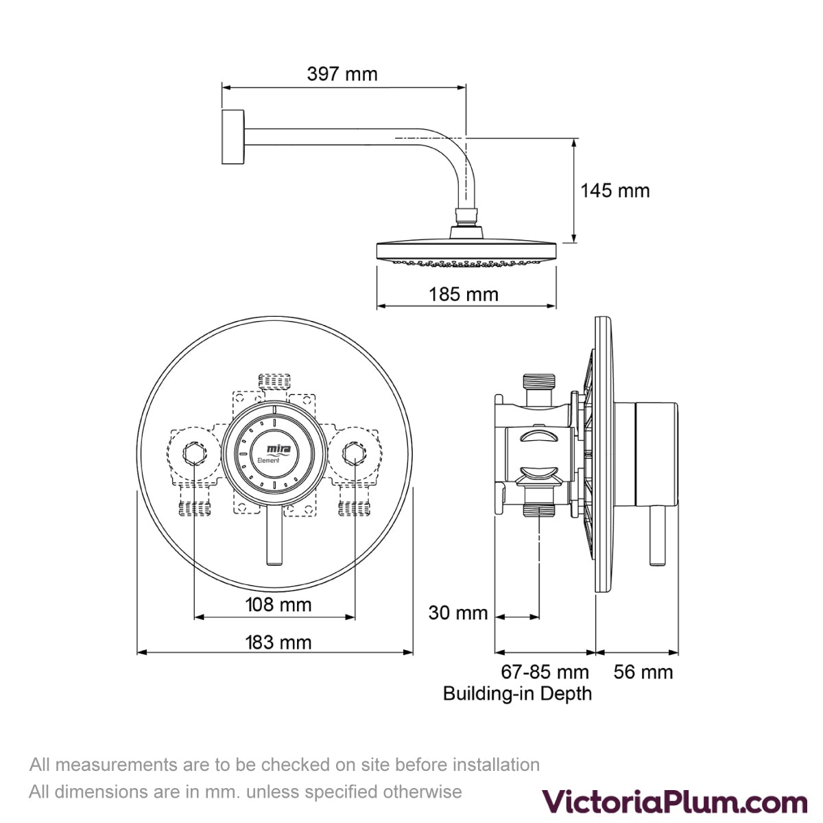 Dimensions for Mira Element BIR thermostatic mixer shower