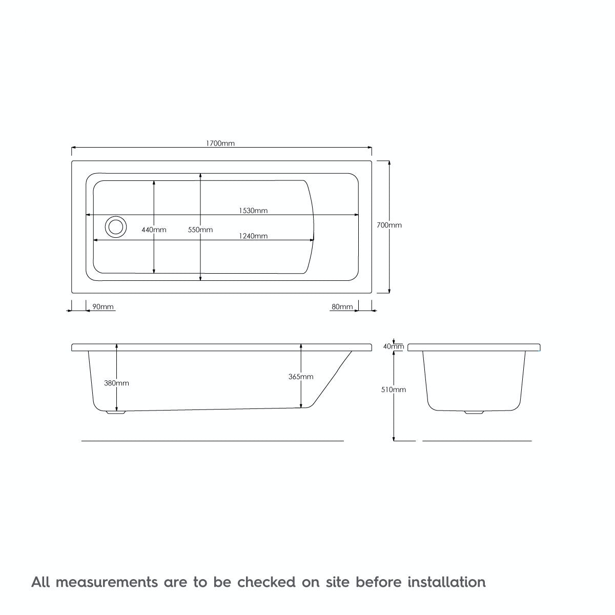 Dimensions for Kirke square edge single ended reinforced bath 1700 x 700