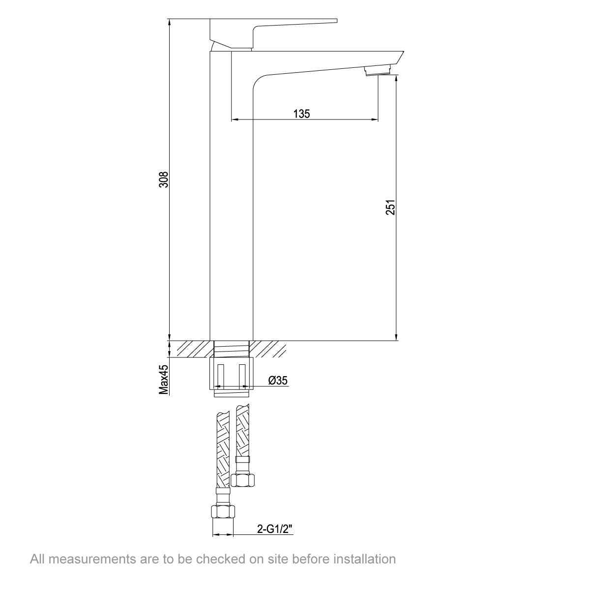 Dimensions for Mode Carter high rise basin mixer tap
