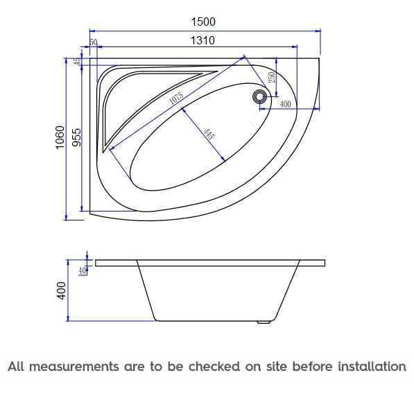 Dimensions for Mode Camden left handed corner 12 jet whirlpool bath