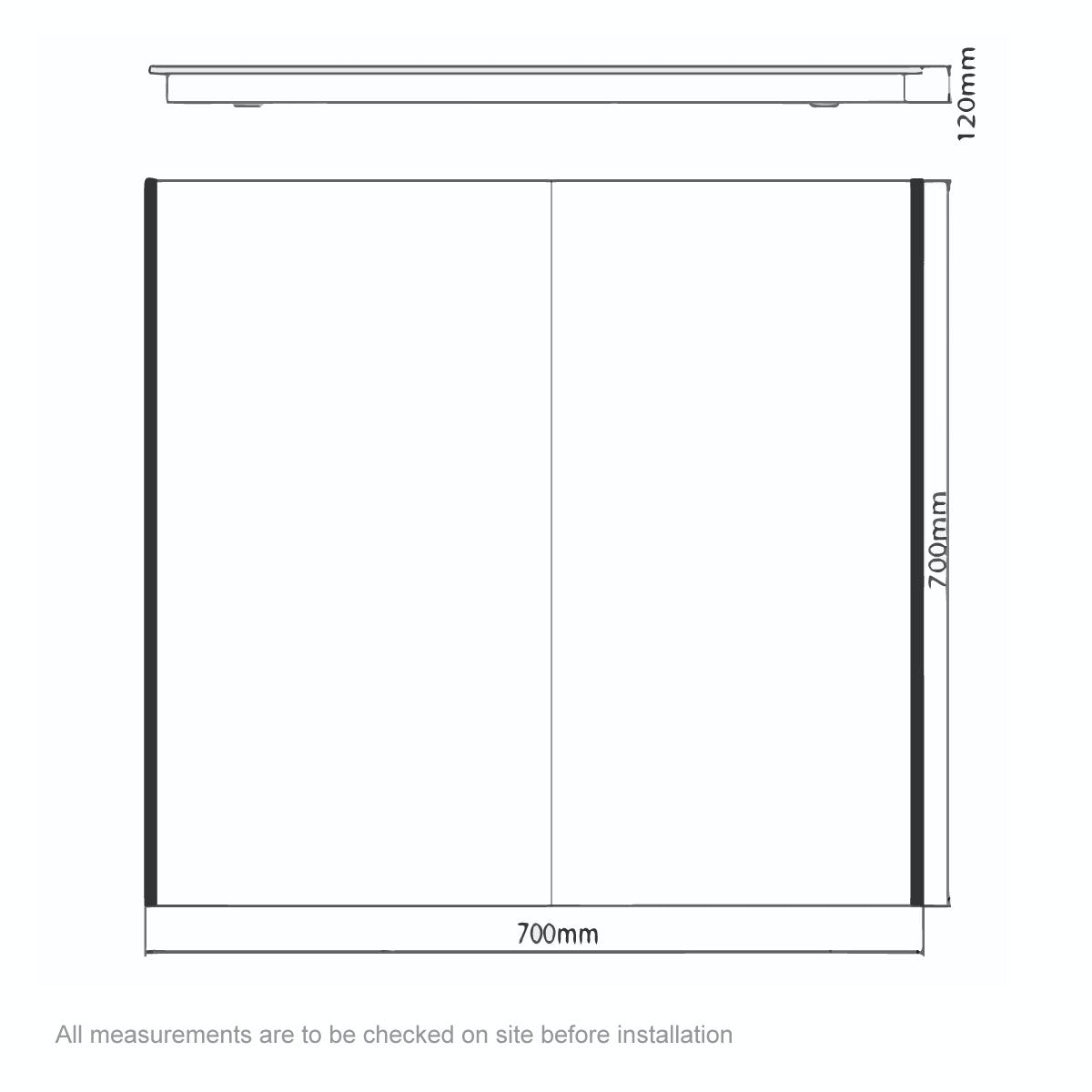 Dimensions for Mode Kiana double diffused LED mirror cabinet