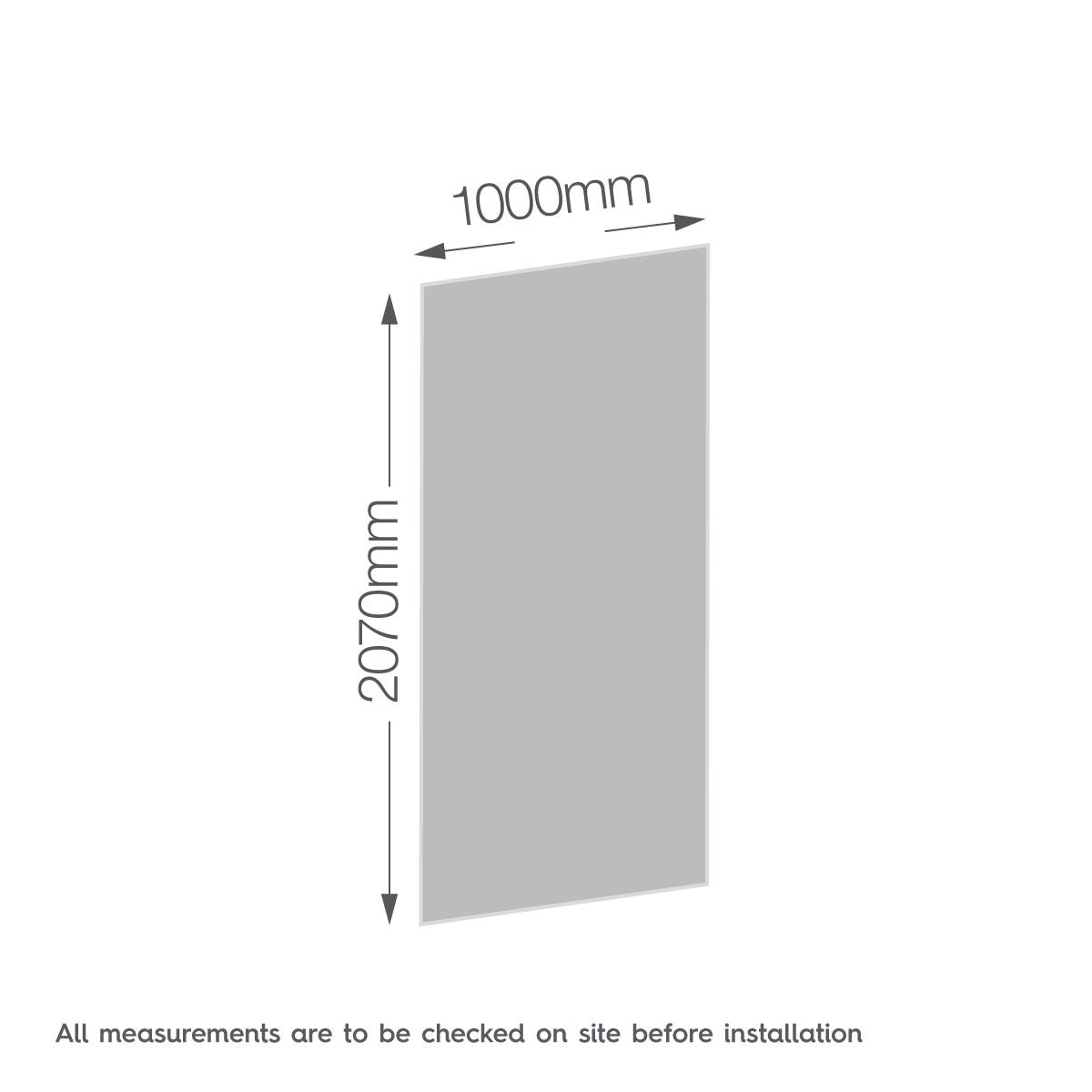 Dimensions for Zenolite plus stone acrylic shower wall panel 2070 x 1000