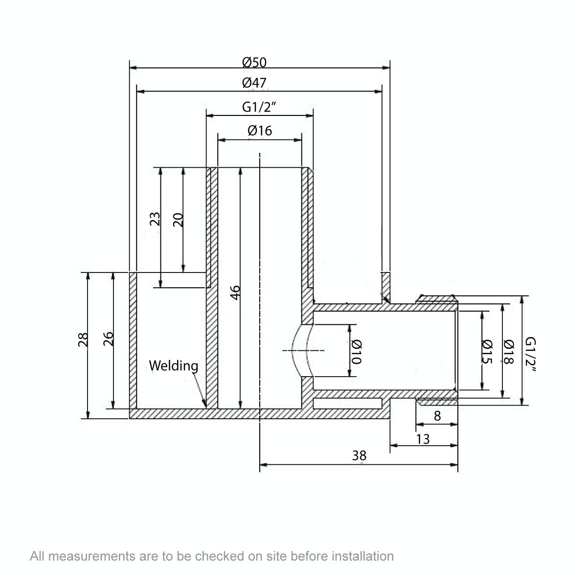 Dimensions for Contemporary round brass wall shower outlet
