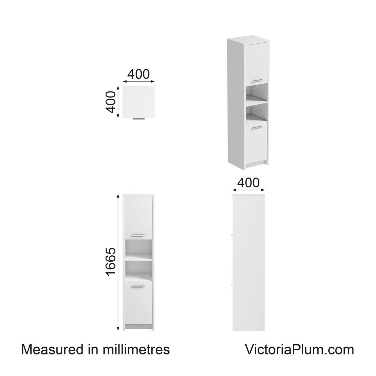 Dimensions for Clarity white floor standing tall unit