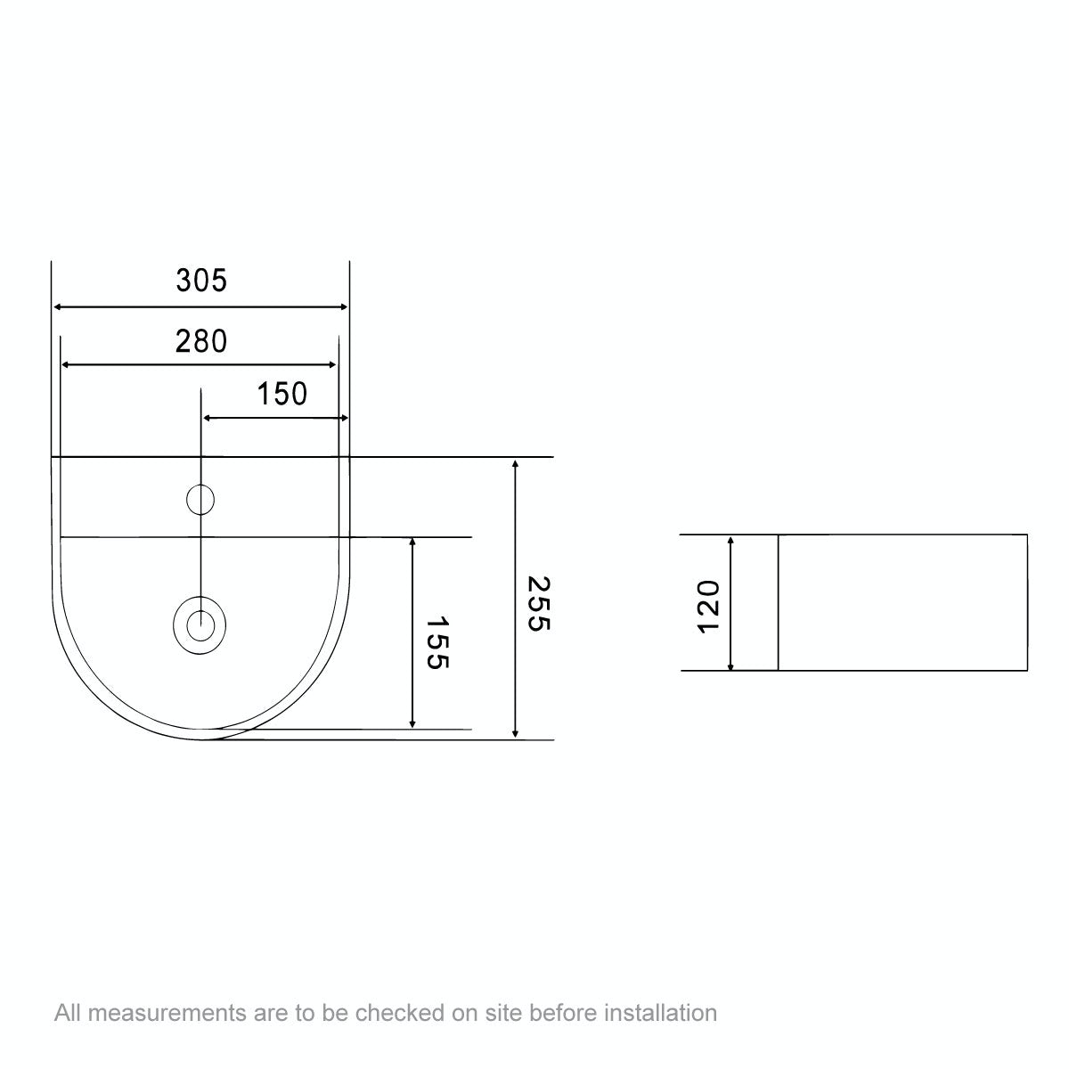 Dimensions for Orchard Pichola 1 tap hole wall hung basin 310mm