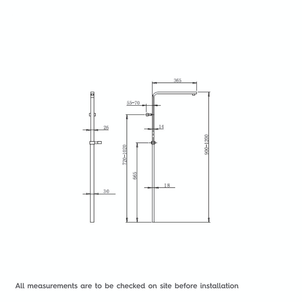 Dimensions for Orchard Tetra black thermostatic bar valve shower system