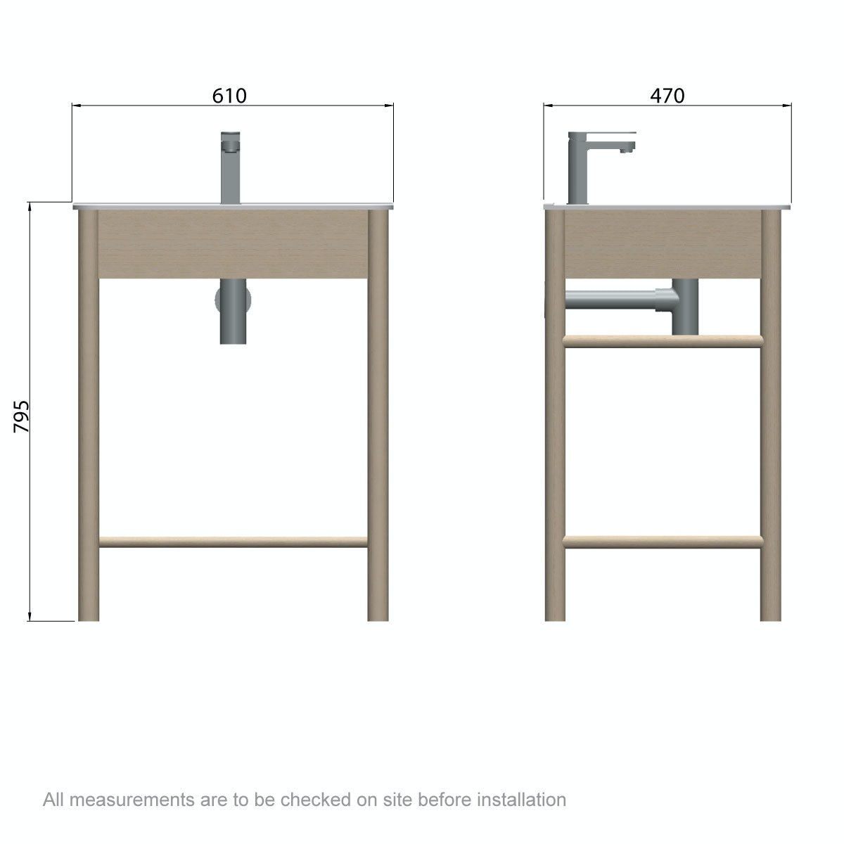 Dimensions for Mode South Bank natural wood washstand with basin 600mm