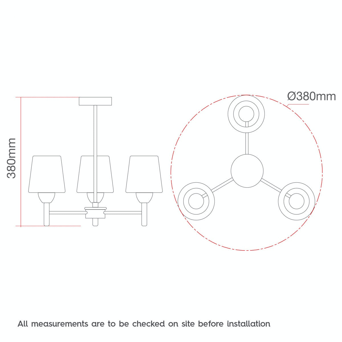 Dimensions for Forum Helios 3 light bathroom ceiling light
