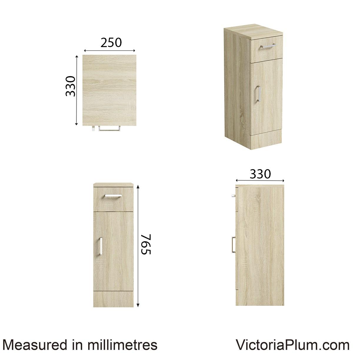 Dimensions for Orchard Eden oak storage unit 330mm