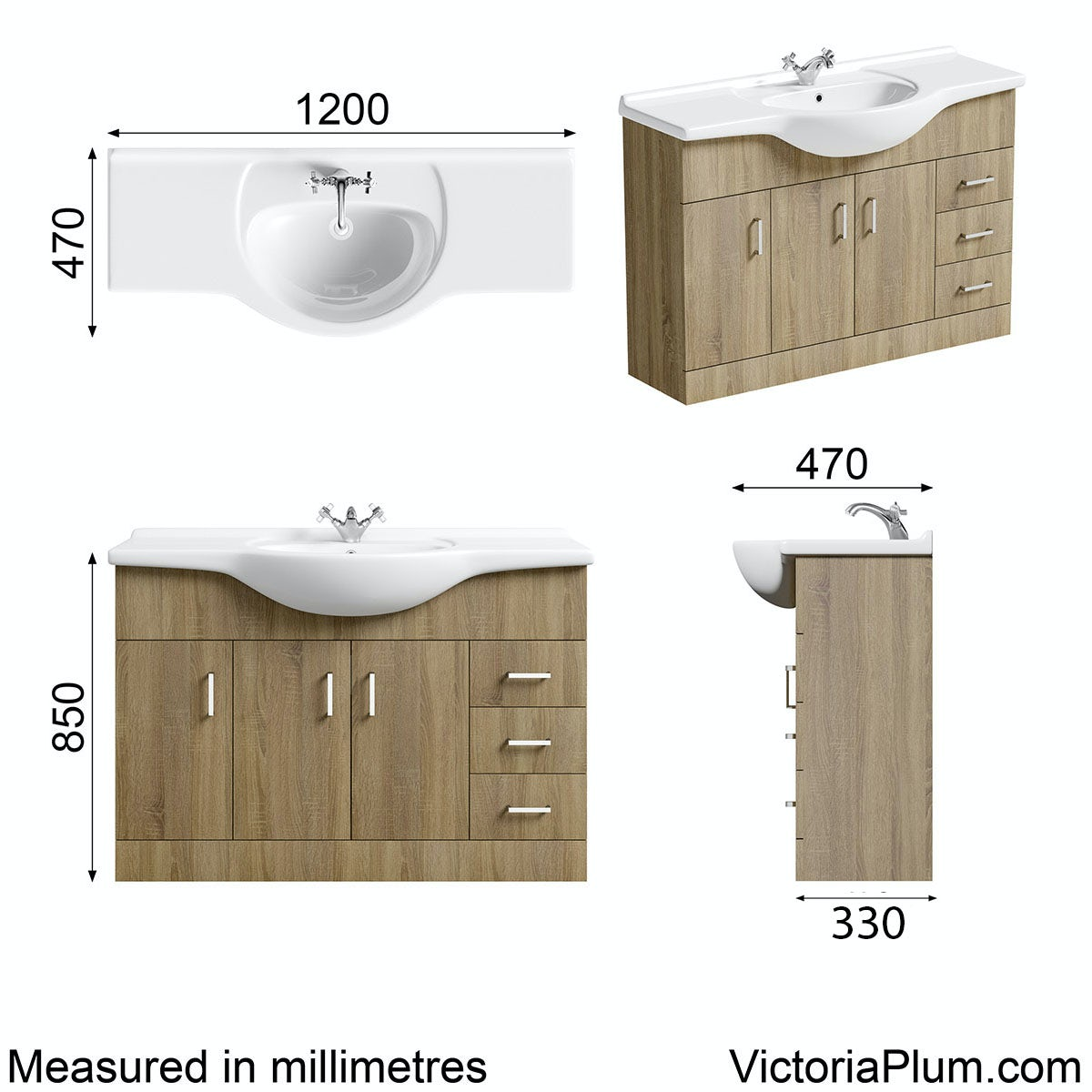 Dimensions for Orchard Eden oak vanity unit and basin 1200mm